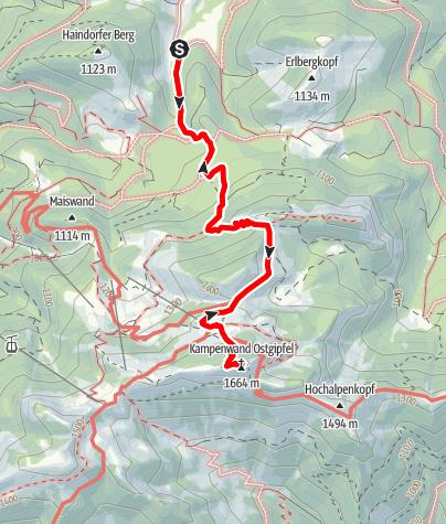 Karte / Kampenwand vom Waldparkplatz Aigen