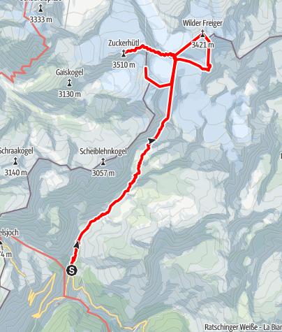 Karte / Zuckerhütl, Wilder Freiger & Co.