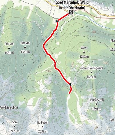 Karte / Weg zum ersten und zweiten Martuljek-Wasserfall