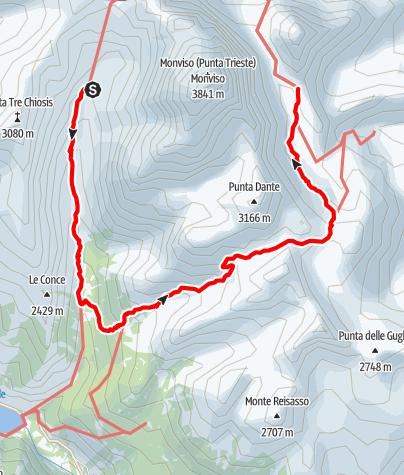 Karte / Rund um der Mon Viso: Tag 2