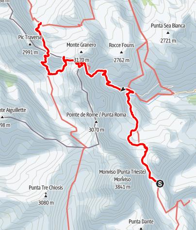 Karte / Rund um der Mon Viso: Tag 3