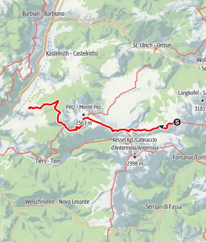 Karte / Plattenkofelhütte -  Tierser Alpljoch - Schlernhaus - Völs am Schlern