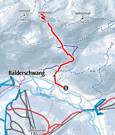 Karte / Heidenkopf von Balderschwang aus