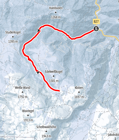 Karte / Rax - Großer Kesselgraben - 1.2.2015