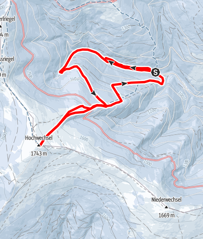 Karte / Über Wasserfall Mariensee zum Hochwechsel
