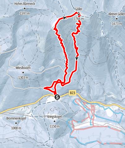 Karte / Göller - Vom Lahnsattel über den Terzer Göller , Abfahrt über den Eisgraben