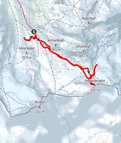 Karte / Skitour Dreiländerspitze 3. März 2015