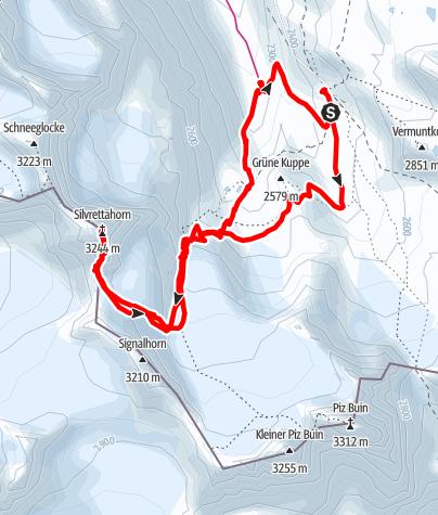 Karte / Silvrettahorn 3244m SkiTour März 2015