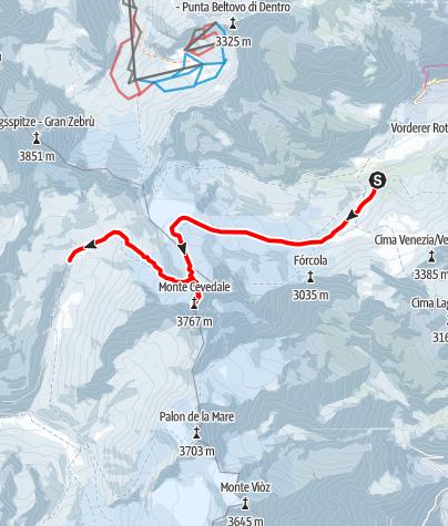 Karte / Marteller Hütte - Mont Cevedale - Pizzinihütte