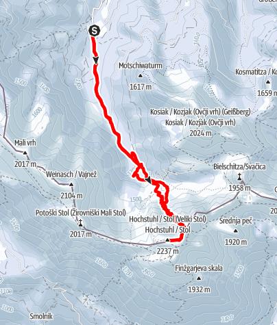 Karte / Hochstuhl - ab Stouhütte über die Johannsenrinne
