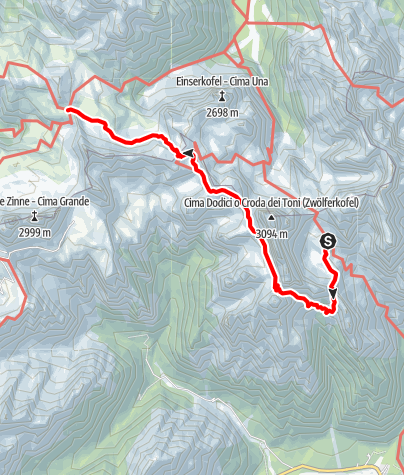 Map / Klettersteig Tour durch die Dolomiten Etappe 2
