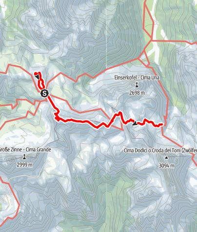 Map / Klettersteig Tour durch die Dolomiten Etappe 3
