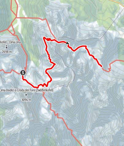 Map / Klettersteig Tour durch die Dolomiten Etappe 4