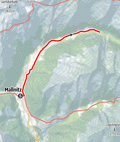 Karte / Schwussnerhütte ab Mallnitz Ort - eine Strecke