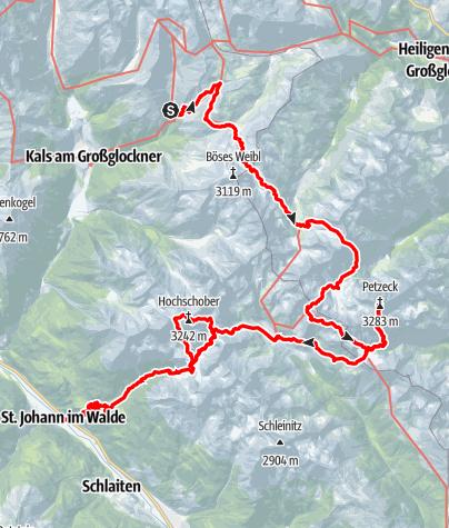 Karte / Hüttentour durch die Schobergruppe