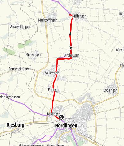 Karte / Kaufmannszug 2019 Tag 4, Nördlingen - Maihingen