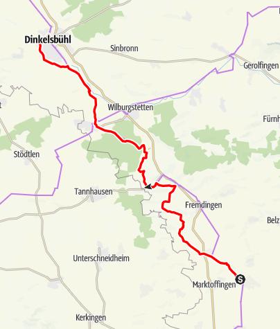 Karte / Kaufmannszug 2019 Tag 5, Maihingen - Dinkelsbühl