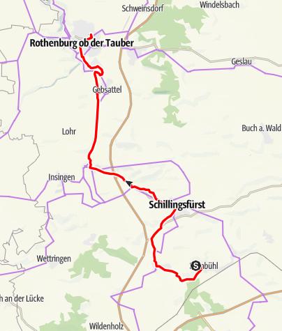 Karte / Kaufmannszug 2019 Tag 7, Dombühl - Rothenburg