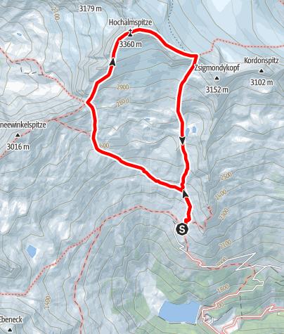 Karte / Hochalmspitze über Detmolder Grat