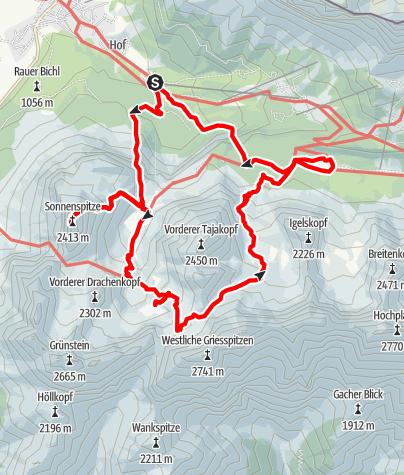 Karte / Ehrwalder Sonnenspitze - große Runde
