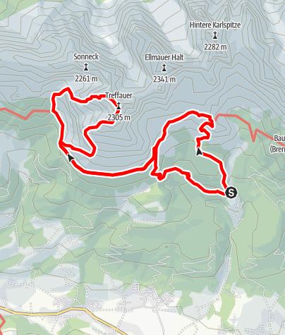 Karte / Tuxeck und Treffauer über Gruttenhütte