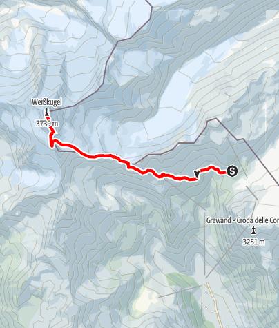 Karte / Weißkugel von Schutzhütte Schöne Aussicht (Rifugio Bella Vista)