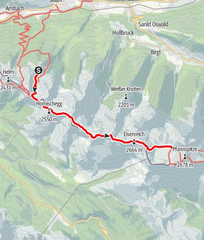 Karte / Karnischer Höhenweg W-->Ost - 2 Obstanserseehütte