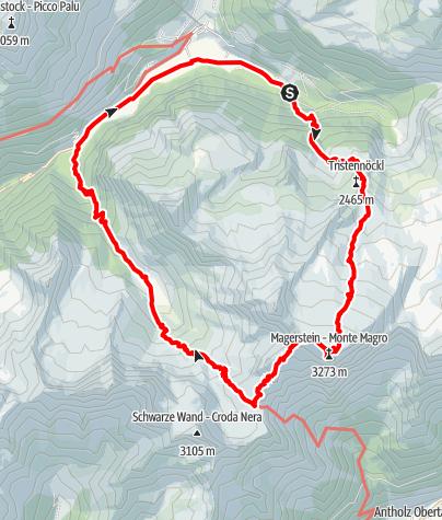 Karte / Rundtour Kassler Hütte - Magerstein - Fernerköpfl - Reiserferner Hütte