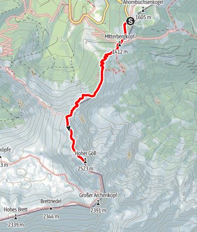 Karte / Hoher Göll 22.08.2015