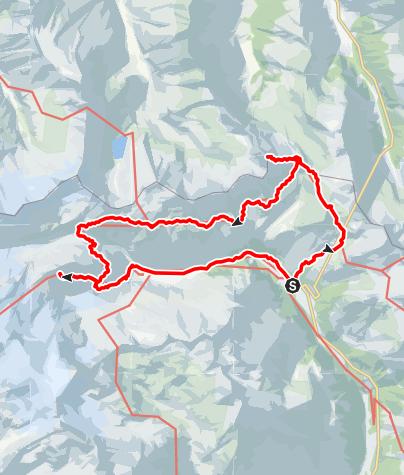 Karte / Innergschlössl-St.pöltnerhütte-pragerhütte und zurück  Ausgangspunkt