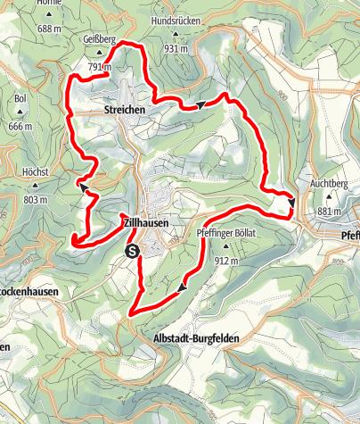 Karte / Feierabendrunde um Zillhausen und Streichen