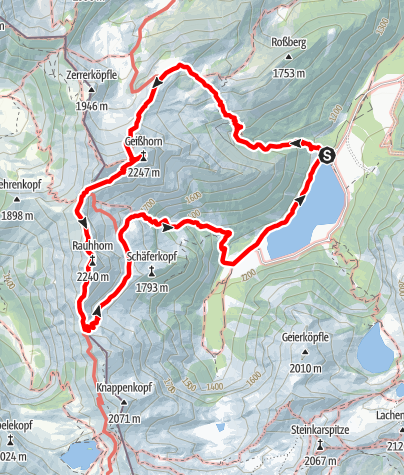 Map / From Vilsalpsee to Gaishorn and Rauhhorn
