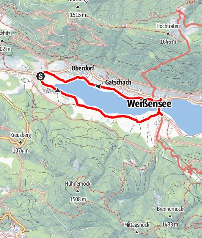 Karte / Wanderung an der Strandpromenade nördlicher Weissensee