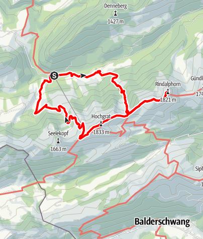 Karte / Rindalphorn & Hochgrat über Brunnenauscharte