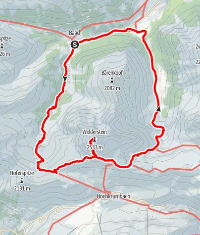 Karte / Großer Widderstein Besteigung und Umrundung