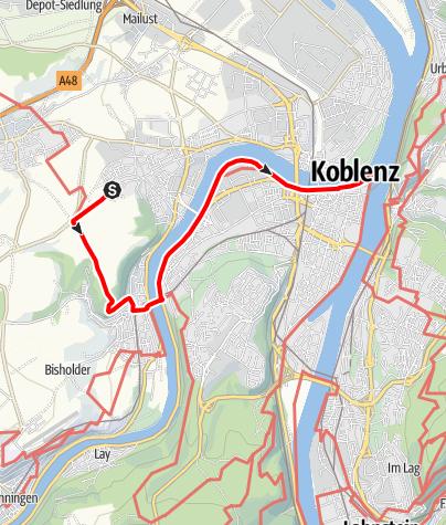 Karte / SP2 Metternich - Koblenz Deutsches Eck