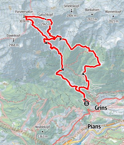 Karte / Bergtour - Gatschkopf - Parseierspitze