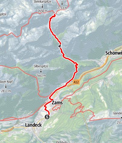 Karte / Landeck-Zams - Steinseehütte