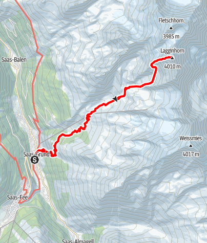 Karte / Lagginhorn Normalroute 4010m November