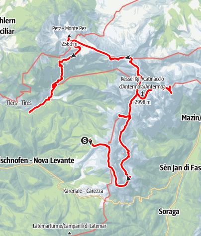 Karte / Phantastische Rosengarten Schlern Tour