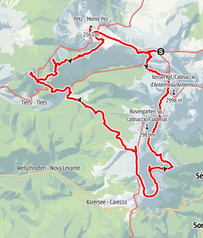 Karte / Hüttentrekking über den  Schlern und die Rosengarten-Gruppe