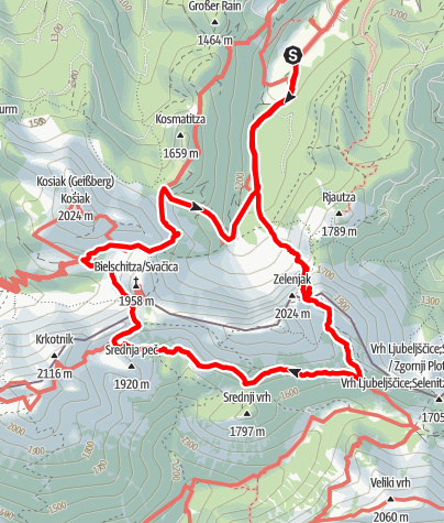 Map / Vom Bodental über die Pautzrinne  zur Klagenfurter Hütte und zurück