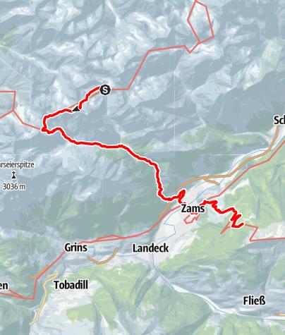 Karte / E5-Var-7-Württemberger Haus - Zammer Alm vs. E4 Seescharte