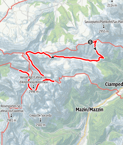 Karte / Tag 5 Plattkofelhütte, Durontal, Duronpass, Antemoja, grasleitenhütte