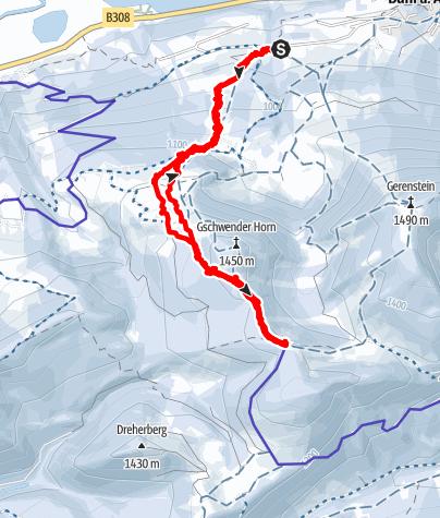 Karte / Kombinierte Schneeschuh und Skitour zum Naturfreundehaus Kempten