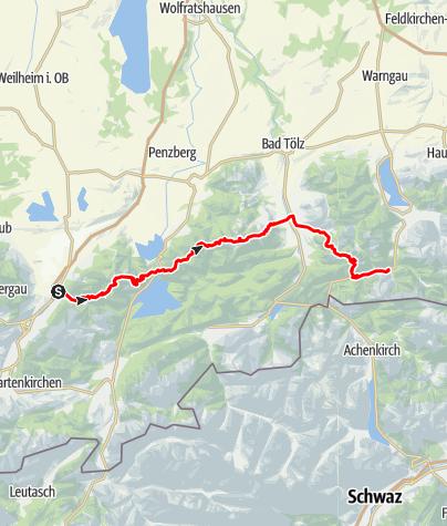 Karte / 3-4 Tagestour Bayrische Voralpen - OPTIONEN