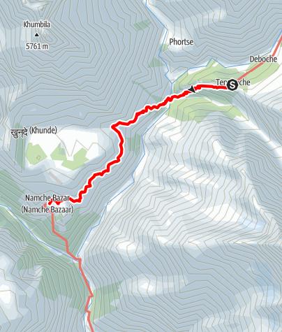 Map / 27.3 - Tengboche - Phunki Thanga - Namche Bazar
