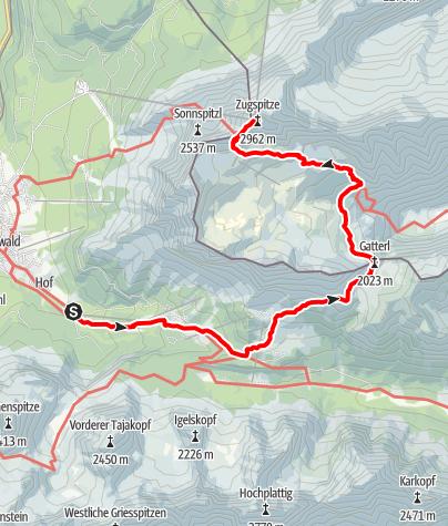 Karte / Zugspitzaufstieg über Gatterl von der Brentalm(Ehrwald) aus.