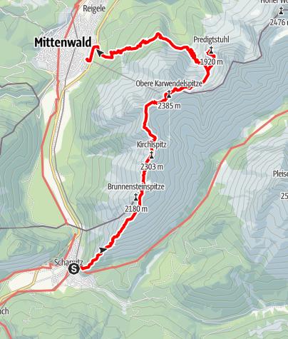 Karte / Gradwanderung zur Westlichen Karwendelspitze