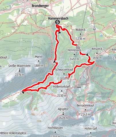 Karte / Hammersbach - Kreuzeck - Hupfleitenjoch - Höllentalangerhütte - Hammersbach